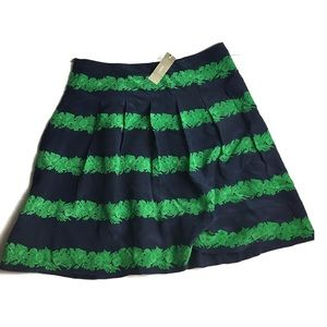 J Crew 100% Silk Navy and Green Pleated Skirt